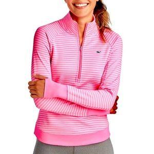 VINEYARD VINES neon pink striped sport zip sweater
